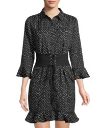 Collective Concepts Corseted Crepe Shirtdress Black