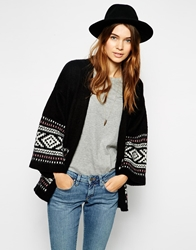 Asos Kimono Cardigan In Brushed Fairisle Black