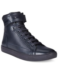 Armani Jeans Men's Perforated Hightop Sneakers Men's Shoes Blue Graphite