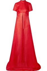 Brandon Maxwell Asymmetric Textured Silk Gazar Top Us12
