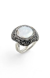 Elise M. Clarinet Mother Of Pearl And Crystal Adjustable Ring