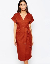 Club L Crepe Wrap Over Detail Dress Rust Red