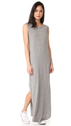 The Great Sleeveless Knotted Tee Dress Heather Grey