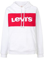 Levi's Logo Embroidered Hoodie White