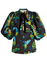 Marc Jacobs Tropical Bird Print Puff Sleeved Jacket Black Multi