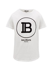 Balmain Flocked Monogram Cotton T Shirt White