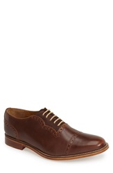 J Shoes 'Chalice' Leather Cap Toe Oxford Men Dark Tan Chocolate