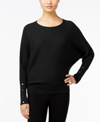 Alfani Petite Ribbed Dolman Sleeve Sweater Only At Macy's Deep Black