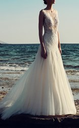 Costarellos Chantilly Lace Applique Tulle Gown White