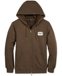 Volcom Men's Zip Up Hoodie With Fleeca Lining Dark Chocolate