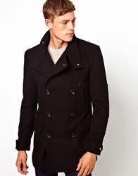 Asos Wool Jacket With Funnel Neck Black