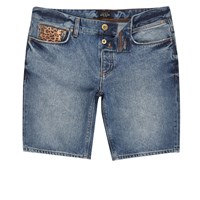 River Island Mens Blue Leopard Patch Skinny Fit Shorts