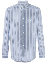 Etro Button Down Striped Shirt Blue