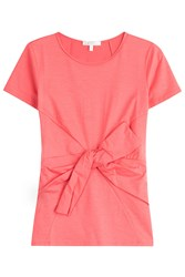 Paule Ka Belted Cotton T Shirt Rose