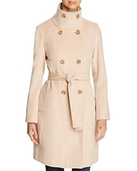Calvin Klein Funnel Neck Double Breasted Button Front Coat Palomino