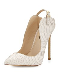 Neiman Marcus Loyal Snake Embossed Pointed Toe Pump Blush