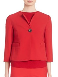 Piazza Sempione Cady Cropped One Button Jacket Red