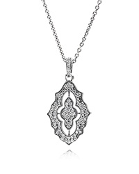 Pandora Design Pandora Necklace Sterling Silver And Cubic Zirconia Sparkling Lace 14 Clear Silver