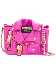 Moschino Bike Jacket Shoulder Bag Women Leather Metal One Size Pink Purple