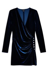 Topshop Velvet Drape Dress Navy Blue