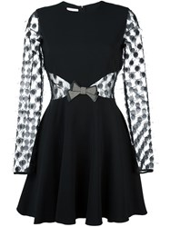 Giamba Sheer Longsleeved Bow Dress Black