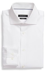 Bugatchi Big And Tall Trim Fit Houndstooth Dress Shirt White