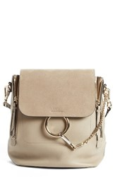 Chloe Medium Faye Suede And Leather Backpack Grey Motty Grey