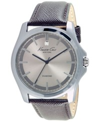 Kenneth Cole New York Men's Diamond Accent Brown Leather Strap Watch 44Mm 10027417 Silver