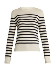 Saint Laurent Striped Long Sleeved Cashmere Knit Sweater Blue White