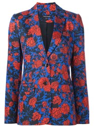 Sophie Theallet Hand Painted Garden Print Jacket Blue