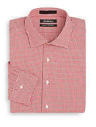 Saks Fifth Avenue Slim Fit Gingham Cotton Dress Shirt Red