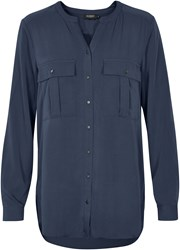 Soaked In Luxury Flat Collar Shirt Blue