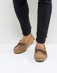 Dunlop Moccasin Slippers In Tan Suede Tan
