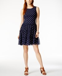 Tommy Hilfiger Polka Dot Fit And Flare Dress Only At Macy's Navy Ivory