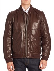 Andrew Marc New York Hughes Leather Fur Lined Moto Jacket Espresso