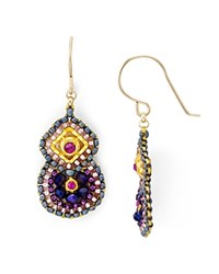 Miguel Ases Beaded Double Drop Earrings Purple