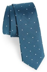 The Tie Bar Dotted Report Silk And Wool Serene Blue
