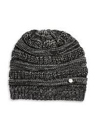 Modena Ribbed Marled Knit Beanie Black