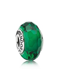 Pandora Design Pandora Charm Sterling Silver And Murano Glass Fascinating Green Moments Collection Silver Green