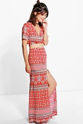 Boohoo Wrap Tie Top And Maxi Skirt Co Ord Set Red
