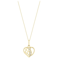 Ibb 9Ct Gold Cubic Zirconia Open Heart Pendant Gold