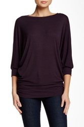 H By Bordeaux Ribbed 3 4 Length Sleeve Banded Hem Tee Purple