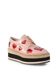 Prada Heart Leather Brogue Platform Oxfords