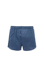 Derek Rose Geometric Print Silk Boxer Shorts Navy