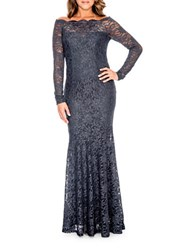 Decode 1.8 Embroidered Mermaid Gown Charcoal