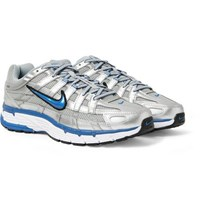 Nike P 6000 Leather Trimmed Mesh Sneakers Silver