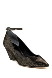 Belle By Sigerson Morrison Waverly Metallic Ankle Strap Wedge Black