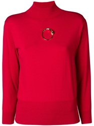 Class Roberto Cavalli Gold Tone Detail Jumper Red