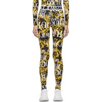 Versace Jeans Couture Black And Yellow Logo Barocco Leggings