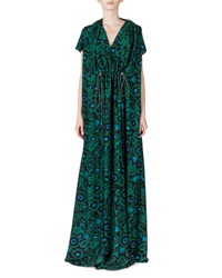 Kenzo Shadow Flower Silk Gown Bottle Green